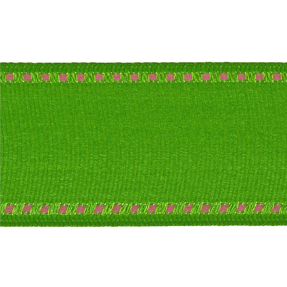 "1 1/2"" Grosgrain Stitched Edge Ribbon Parrot Green/Pink"