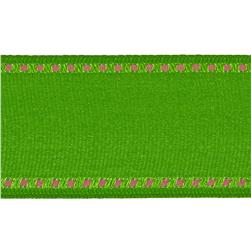 1 1/2'' Grosgrain Stitched Edge Ribbon Parrot Green/Pink