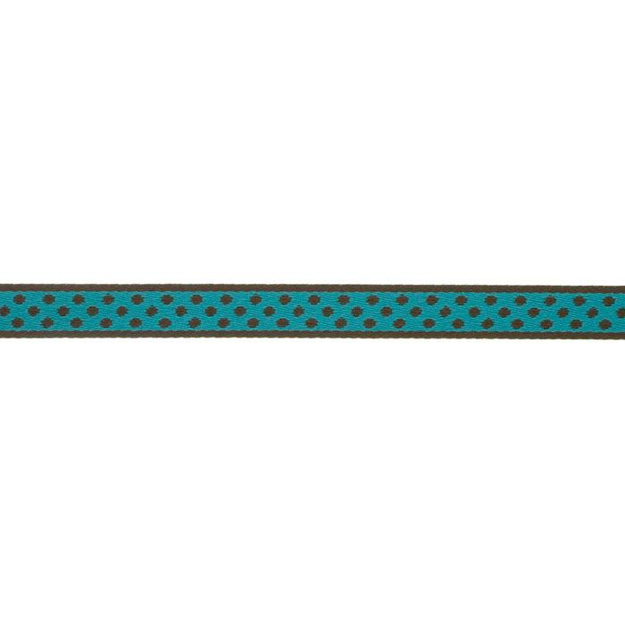 7/16'' Ribbon Polka Dot Hot Turquoise/Brown
