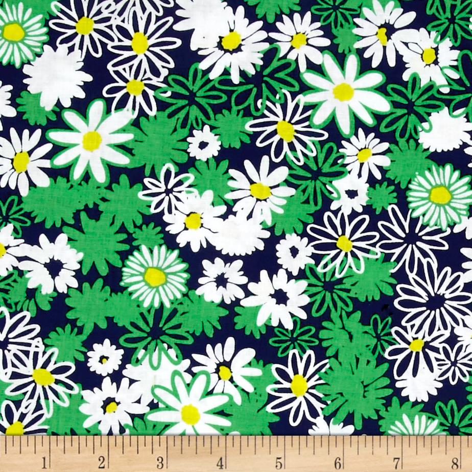 Bahama Breeze Daisy Splash Navy Fabric By The Yard