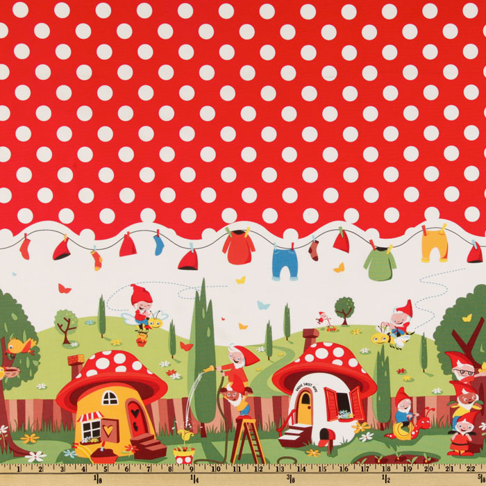 Michael Miller Gnomeville Border Red Fabric
