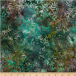 Batavian Batiks Leaves Teal/Brown