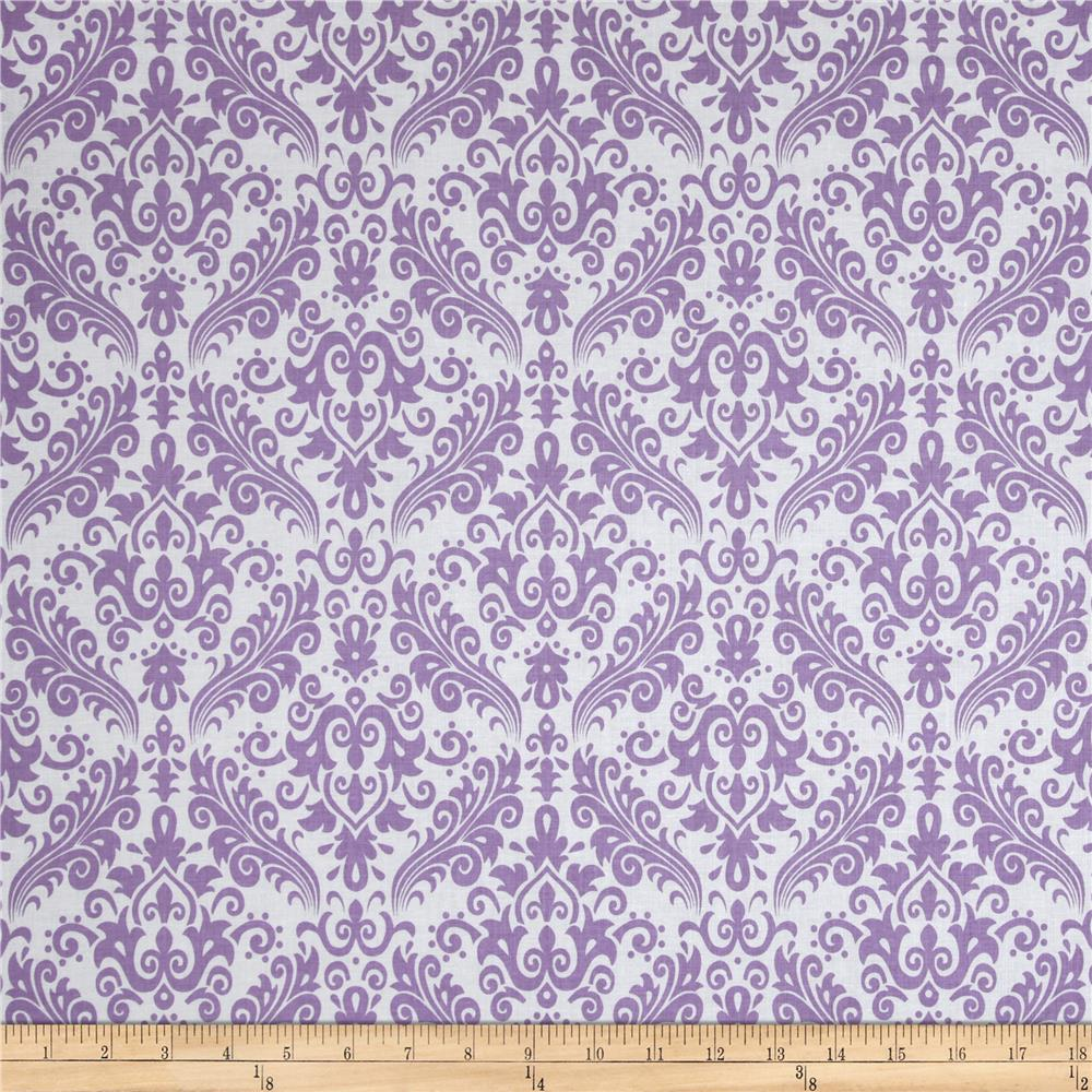 Riley Blake Medium Damask White/Lavender