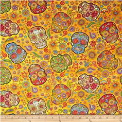 Fabric Fiesta Skulls Gold