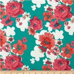 Soft Jersey Knit Floral Turquoise Green/Coral/Pink