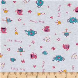 Baby Rib Knit Tea Time Pink/White Fabric