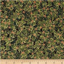 Pear Tree Greetings Metallic Holly Black/Gold Fabric