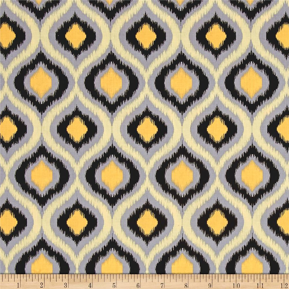 Poppies In Bloom Yellow Ikat Yellow