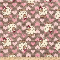 Camelot Flannel Sheep Brown Fabric