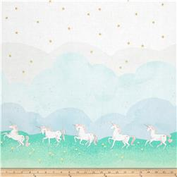 Michael Miller Sarah Jane Magic Metallic Unicorn Parade Double Border Mint