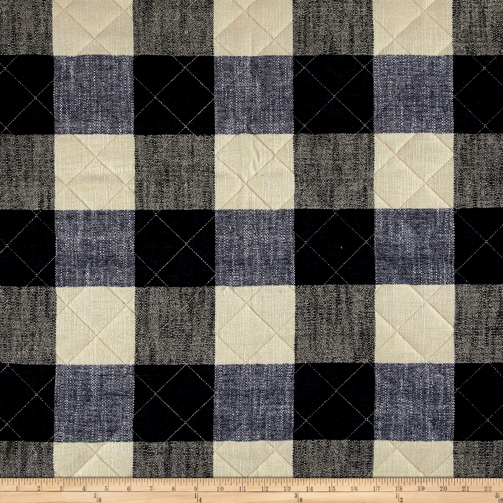 Buffalo Check Quilted Chenille Denim & Natural Fabric