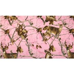 Realtree Fleece Pink Deer Allover Pink Fabric