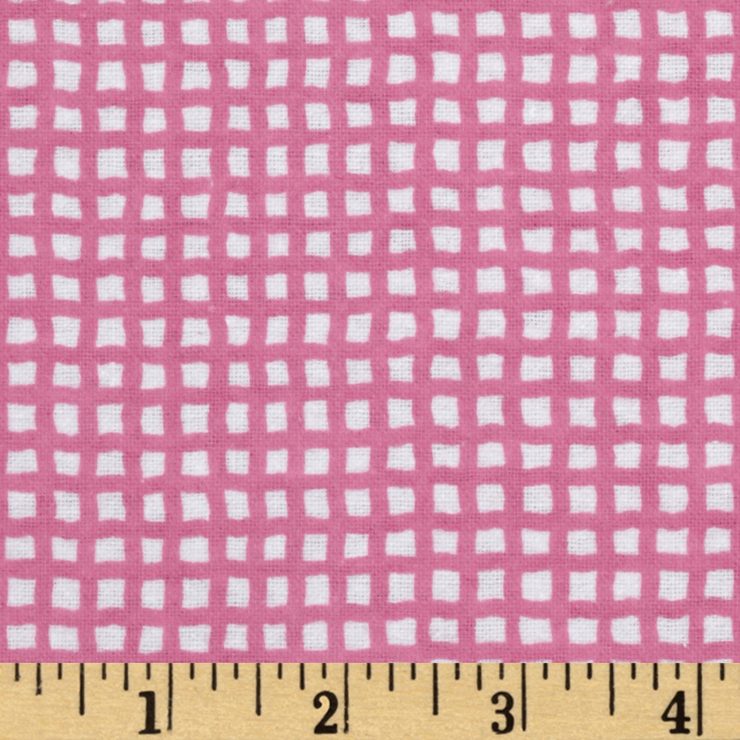 Alpine Flannel Basics Check Bright Pink/White Fabric