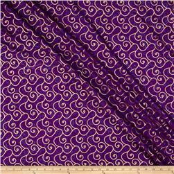 Indian Batik Montego Bay Gold Scroll Purple