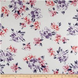 Italian Designer Cotton Silk Batiste Floral White/Purple/Pink