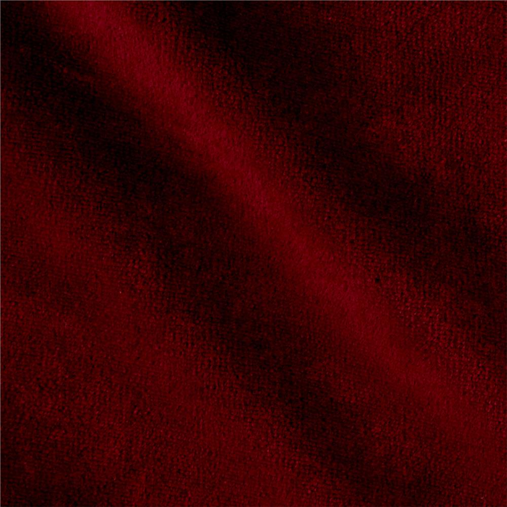 Solid Velour Burgundy Fabric