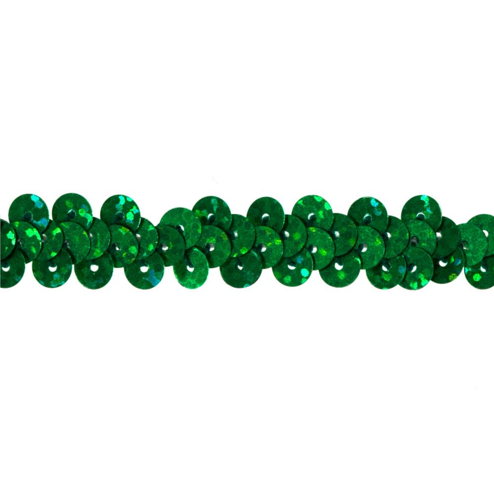 "3/8"" Hologram Stretch Sequin Trim Green"