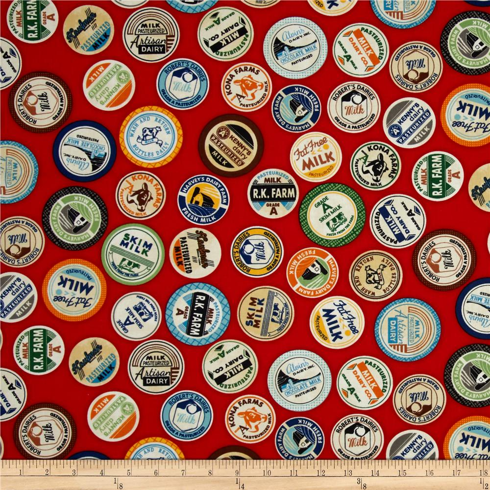 Kaufman Down on the Farm Bottle Tops Red
