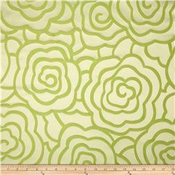 Starlight Peony Reversible Jacquard Apple Green Fabric