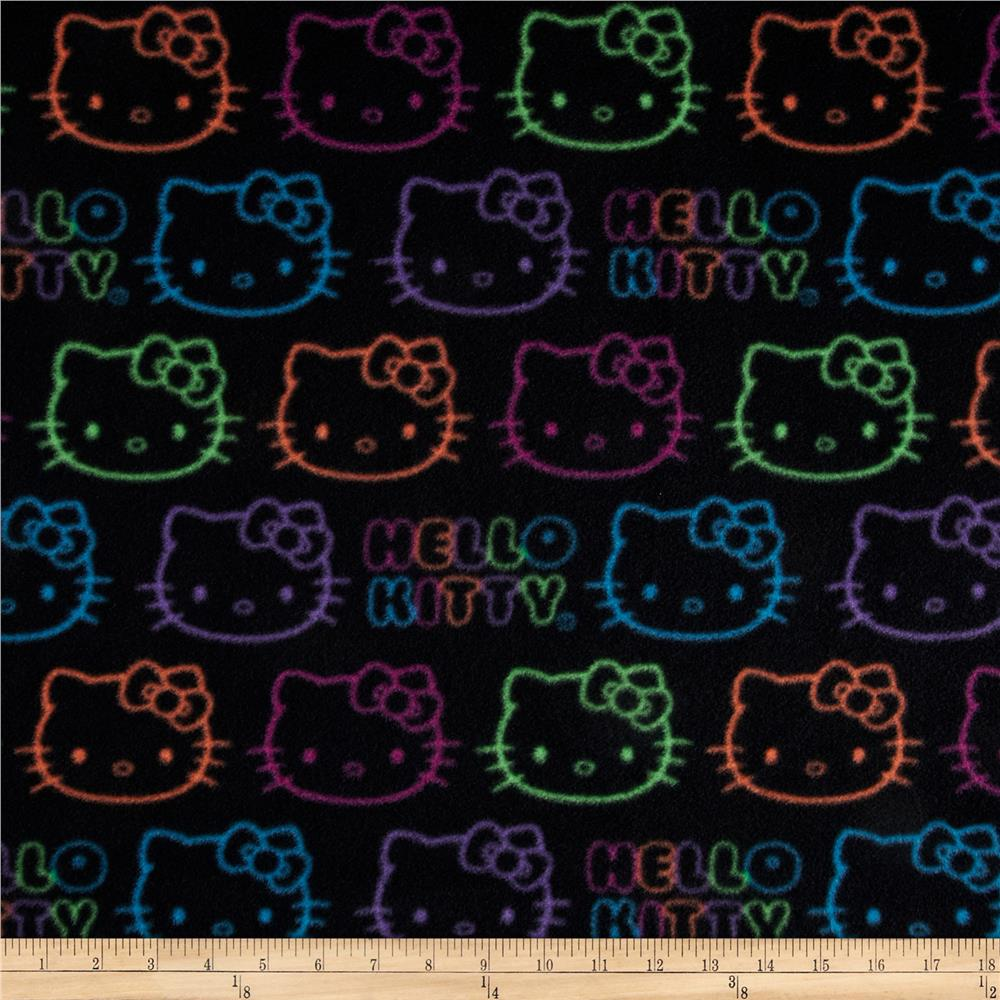 Hello Kitty Fleece Neon Doodle Allover Black Fabric By The Yard