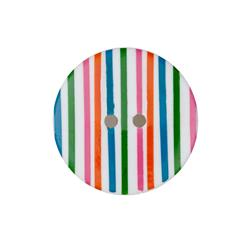 "Dill Novelty Button 1-3/8"" Multi Stripe on White"