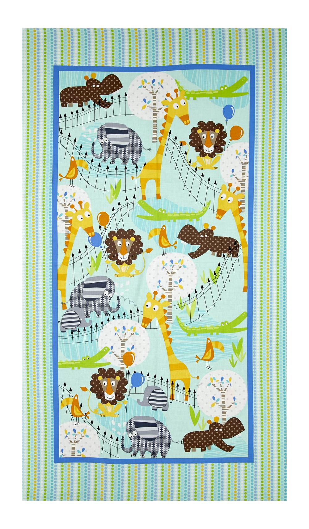 "Kanvas Zoo Baby At The Zoo 42"" Panel Aqua/Multi"