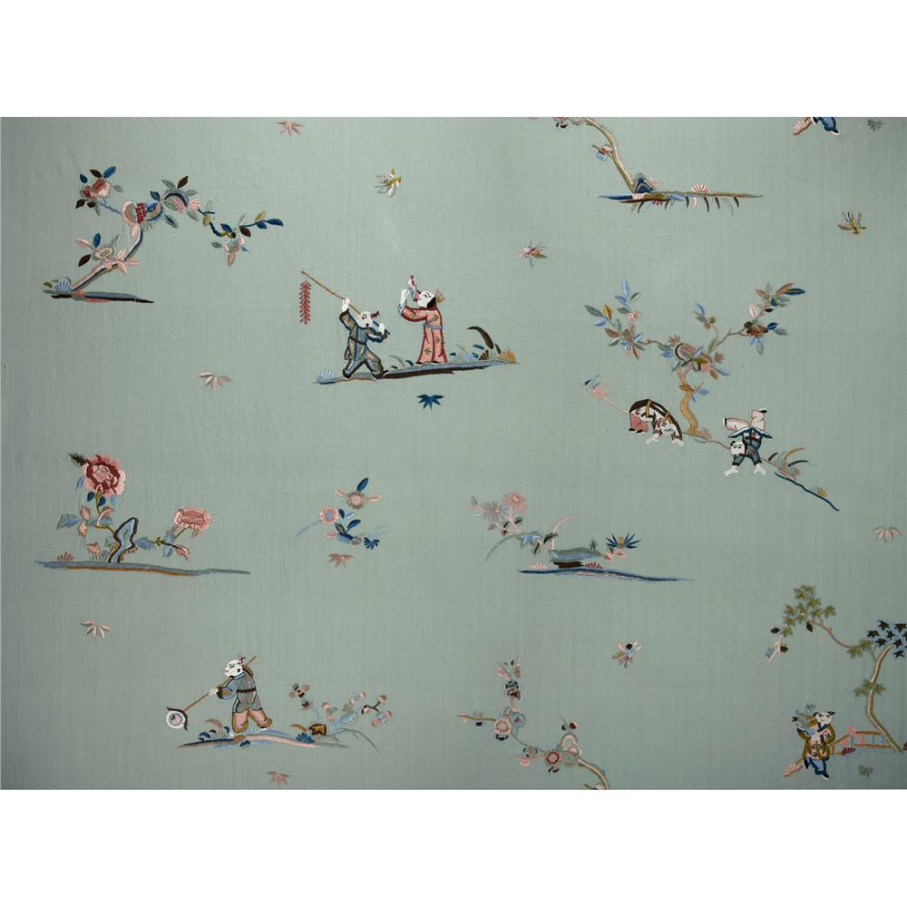 Robert Allen Promo Embroidered Oriental Games Iced Celadon