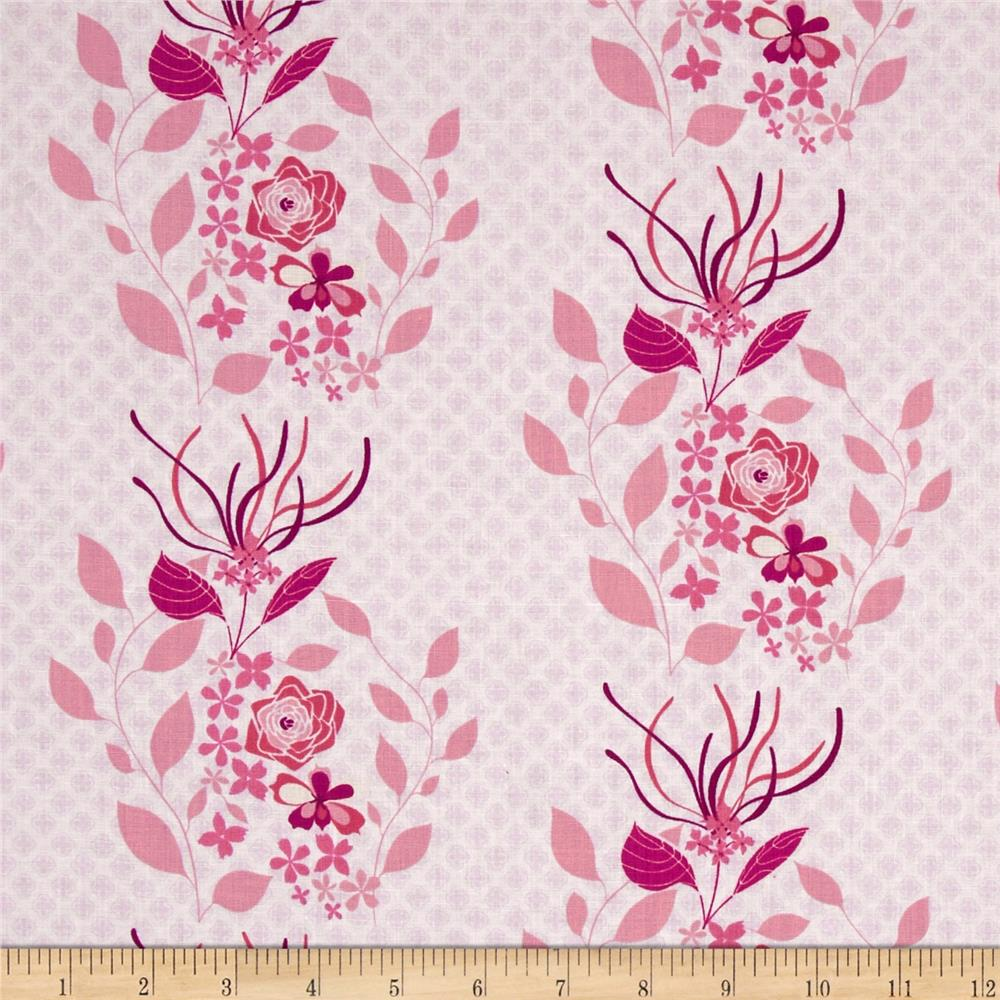 Hot House Flowers Dainty Floral Stripe Pink