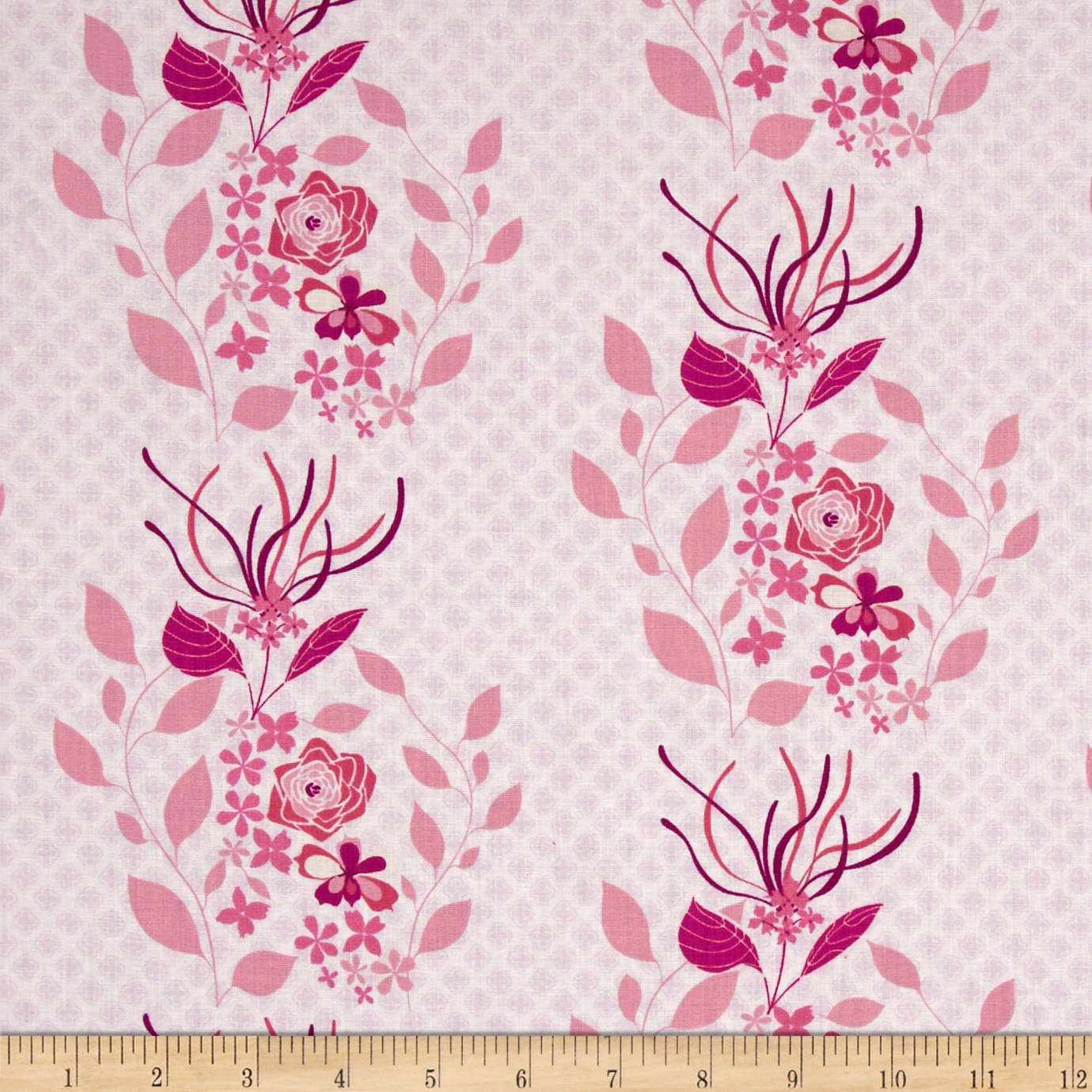 Hot House Flowers Dainty Floral Stripe Pink Fabric