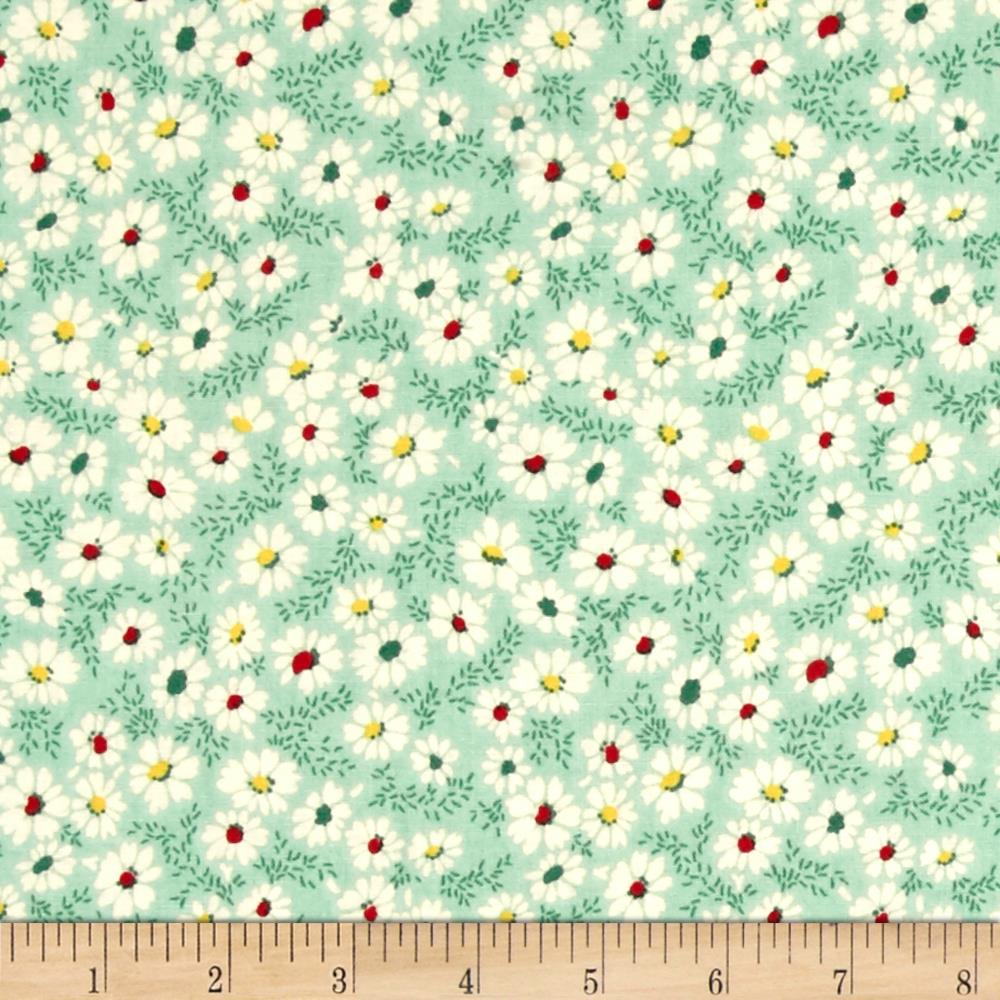 Summer Days Daisies Green Fabric By The Yard