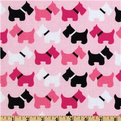 Urban Zoologie Scottie Dogs Pink Fabric
