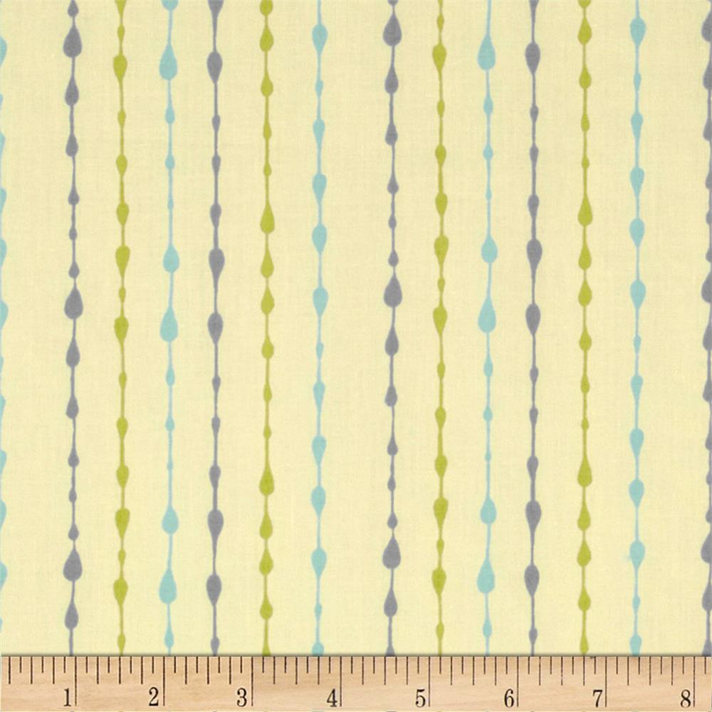 Moda Little Things Organic Raindrop Pin Stripe Cream - Aqua