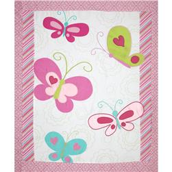 Butterfly Whimsy Flannel Quilt Top Panel Pink