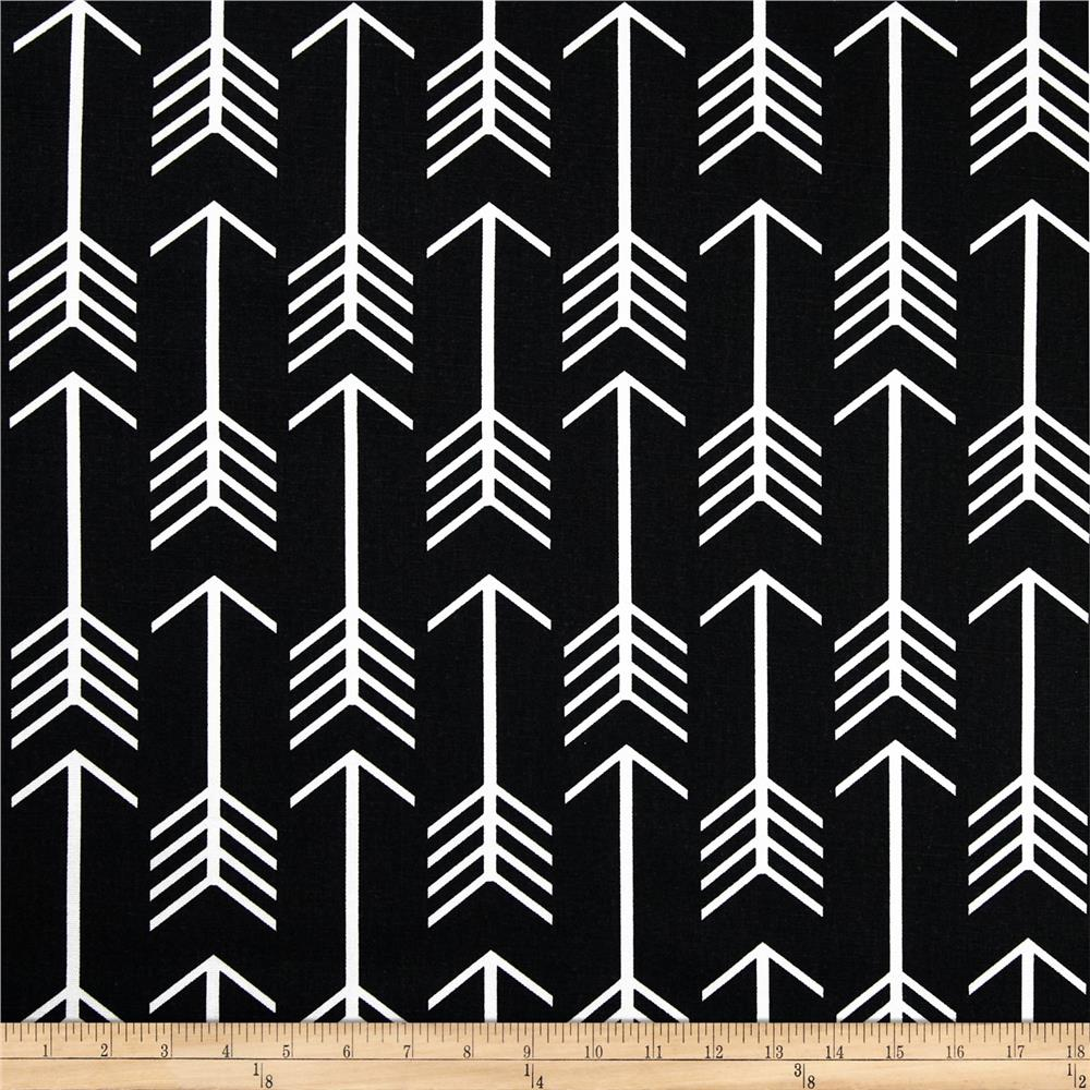 Premier prints arrow black discount designer fabric for Black and white mural prints