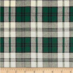 Yarn Dyed Flannel Plaid Mini Chevron Ivory/Green/Black