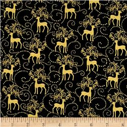 Golden Holiday Metallic Reindeer Scroll Black