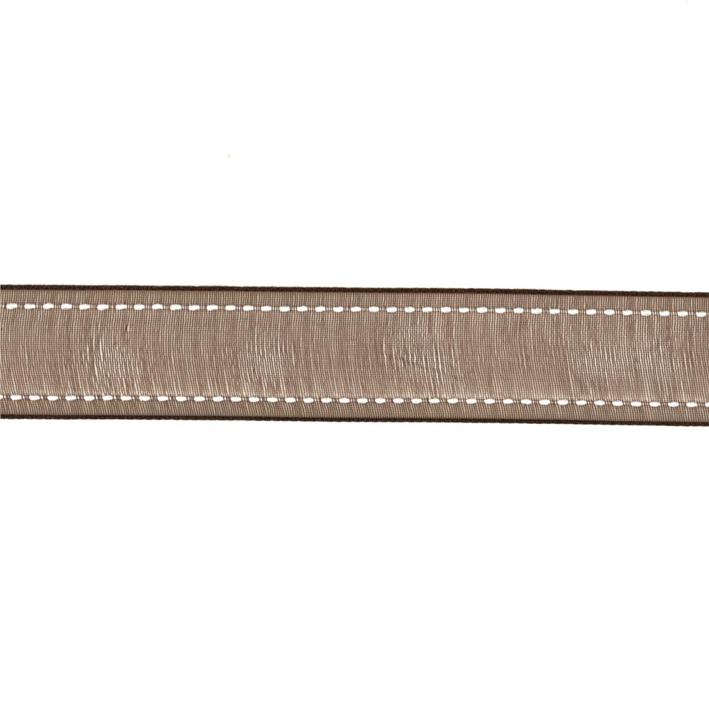 "7/8""  Sheer Stitched Edge Ribbon Brown"