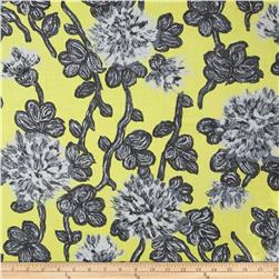 Bloom Voile Flowers Yellow/Grey