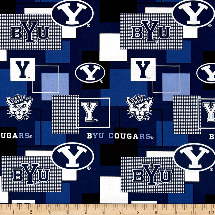 Collegiate Cotton Broadcloth Brigham Young University Block Print Navy Fabric by Sykel in USA