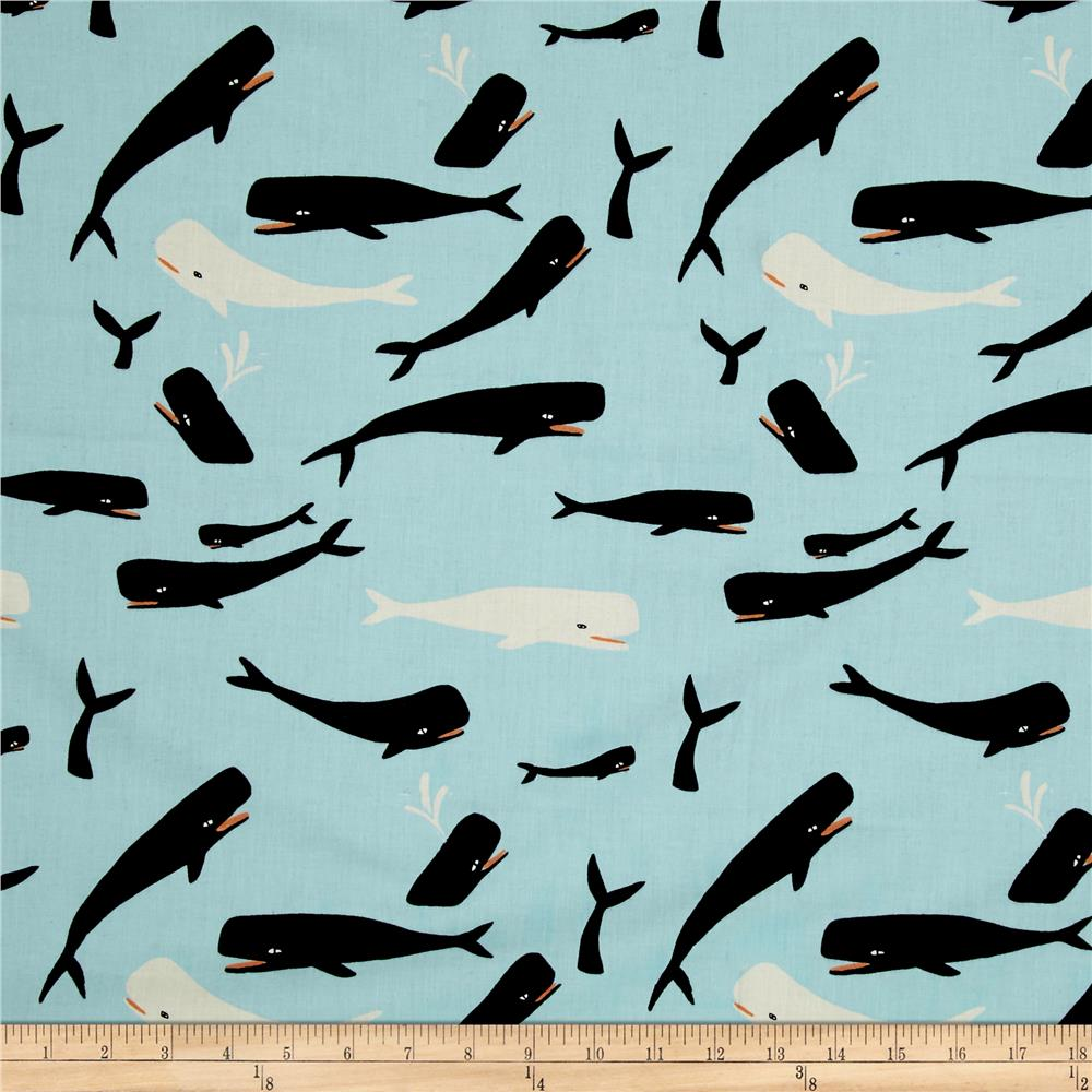 Birch organic saltwater whales sky discount designer for Whale fabric