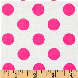Riley Blake Dots Neon Pink Fabric