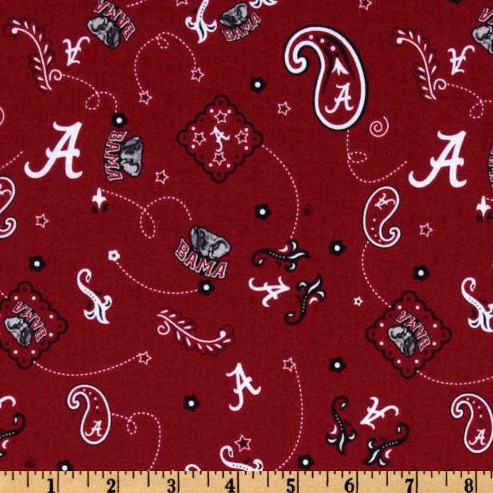 Collegiate Cotton Broadcloth University of Alabama Bandana Red Fabric By The Yard