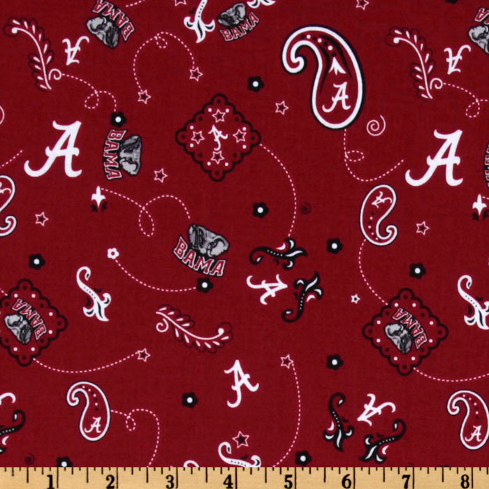 Collegiate Cotton Broadcloth University of Alabama Bandana Red