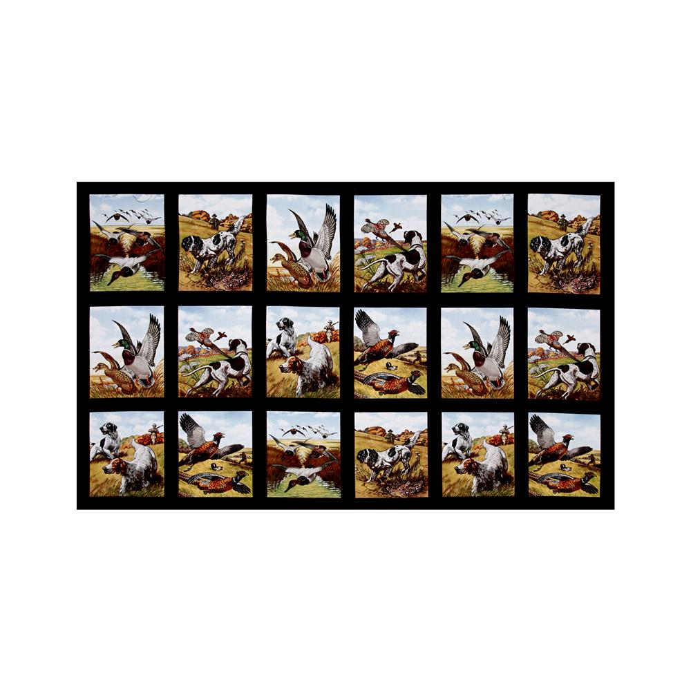 Sports Afield Bird Hunting 23'' Panel Black Fabric By The Yard