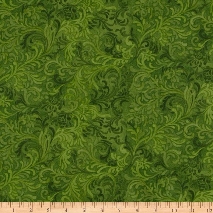 "108"" Flourish Quilt Backing Green"