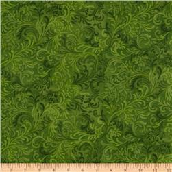 108'' Flourish Quilt Backing Green Fabric