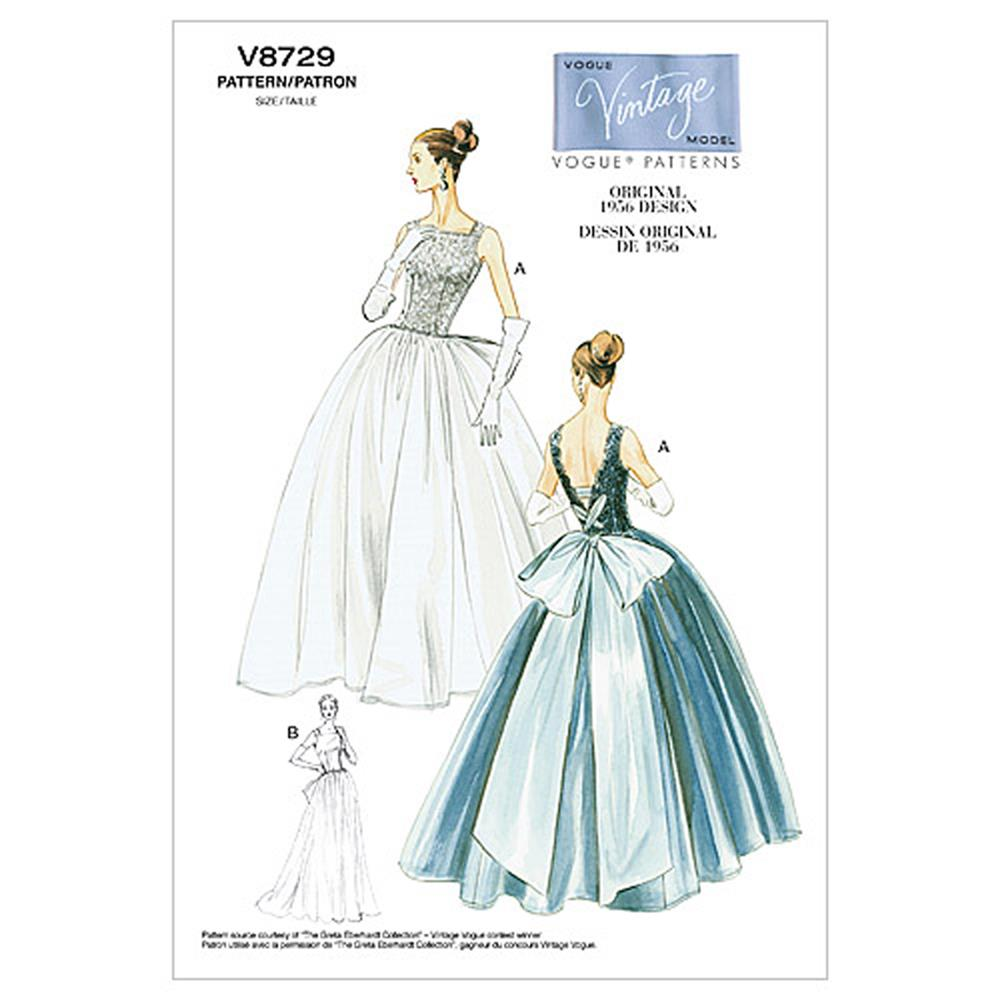 Vogue Misses' Dress and Underskirt Pattern V8729 Size AA0