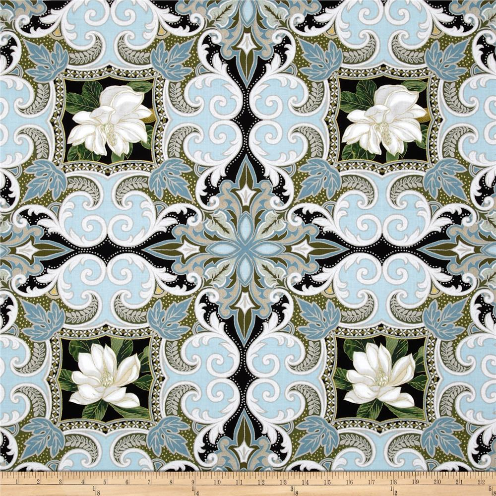 Kanvas Southern Charm Metallic Magnolia Medallion Powder Blue