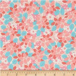 Kaufman London Calling Lawn Flowers & Leaves Blush