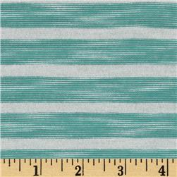 Designer Yarn Dyed Stripe Jersey Knit White/Turqouise Green Fabric